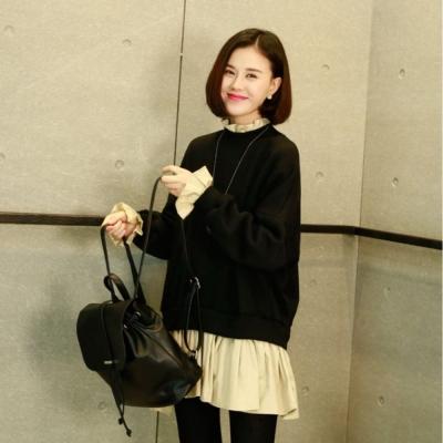 La Belleza假兩件加絨厚棉拼接荷葉領百摺裙擺側拉鍊洋裝