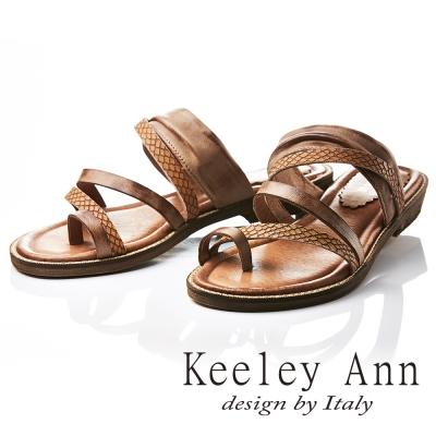 Keeley Ann 民族風質感紋路仿舊擦色全真皮平底拖鞋(棕色-Ann)