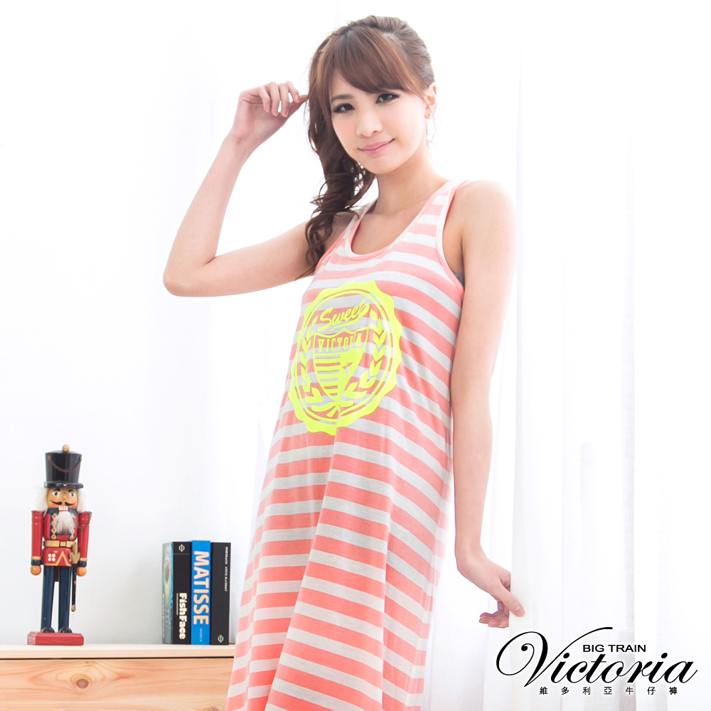 Victoria 馬卡龍色條紋背心裙-女-粉紅