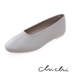 Chichi 韓國直送-繽紛春日 素面造型平底鞋*灰色