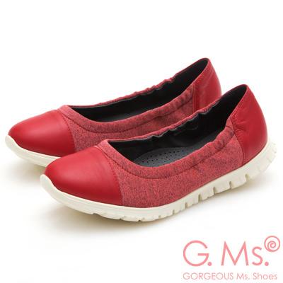 G.Ms. MIT超軟Q系列-牛皮拼接針織布娃娃便鞋-紅色