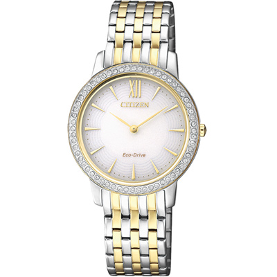 CITIZEN  L系列 典雅奢華晶鑽腕錶(EX1484-81A)-雙色版/29mm