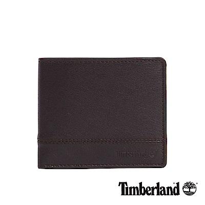 Timberland 男款深咖啡色壓紋短夾