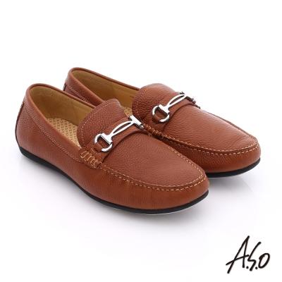 A.S.O 輕量抗震 真皮結飾縫線奈米樂福鞋 茶色