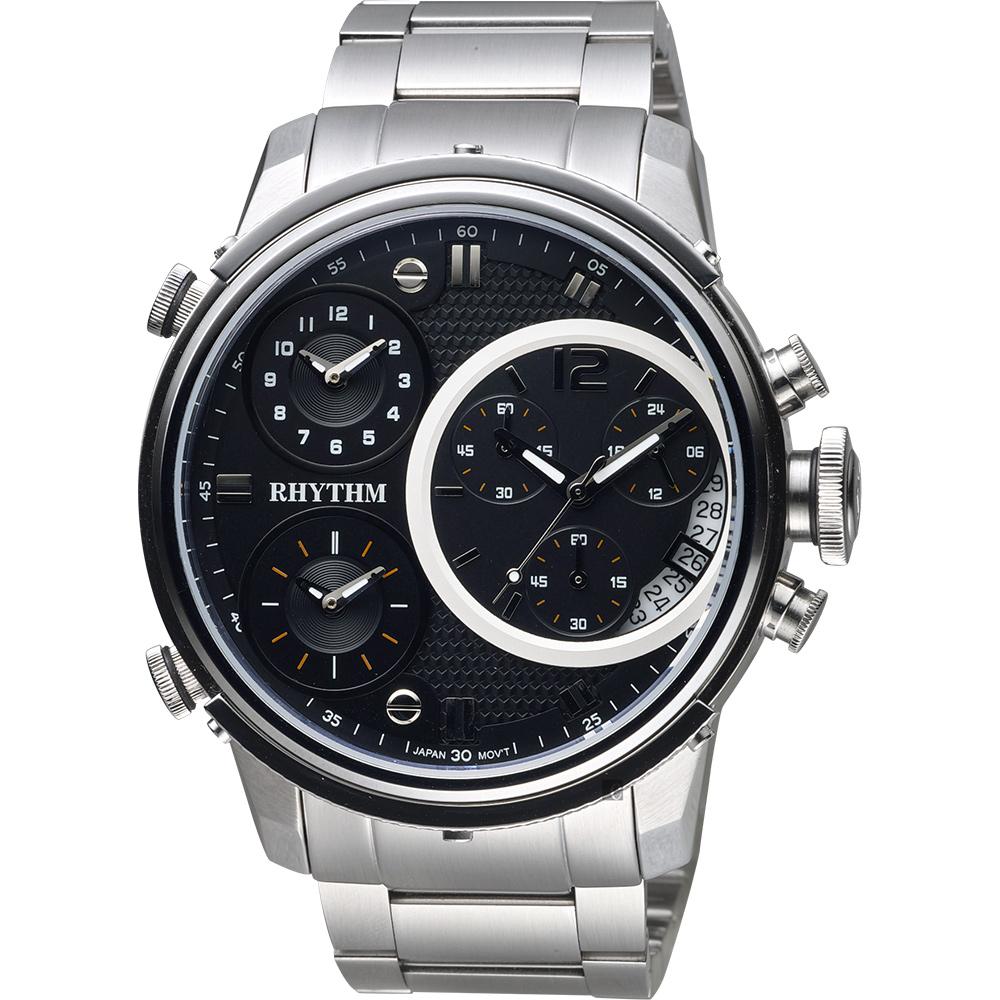 RHYTHM日本麗聲 三地時區石英手錶-黑x銀/47mm