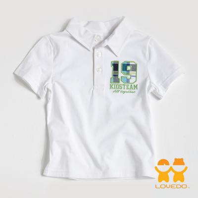 【LOVEDO艾唯多童裝】運動球員19號 潮流短袖Polo衫 (白)