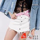 前排扣抽鬚流蘇牛仔褲裙 (共二色)- 4inSTYLE形設計