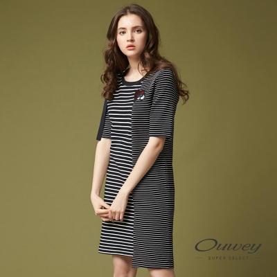 OUWEY歐薇 俏皮條紋貼布刺繡洋裝(黑)-動態show