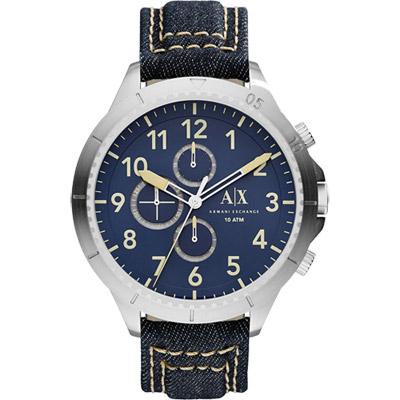 A│X Armani Exchange Romulous 牛仔計時錶-藍/50mm