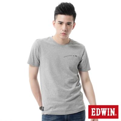 EDWIN-T恤-標語貼袋T恤-男-麻灰