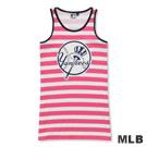 MLB-紐約洋基隊條紋長版印花背心-深粉紅(女)