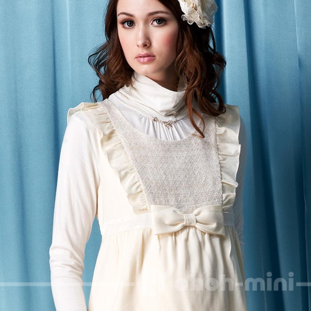 【ohoh-mini】白雪夢幻花邊高腰孕婦背心洋裝