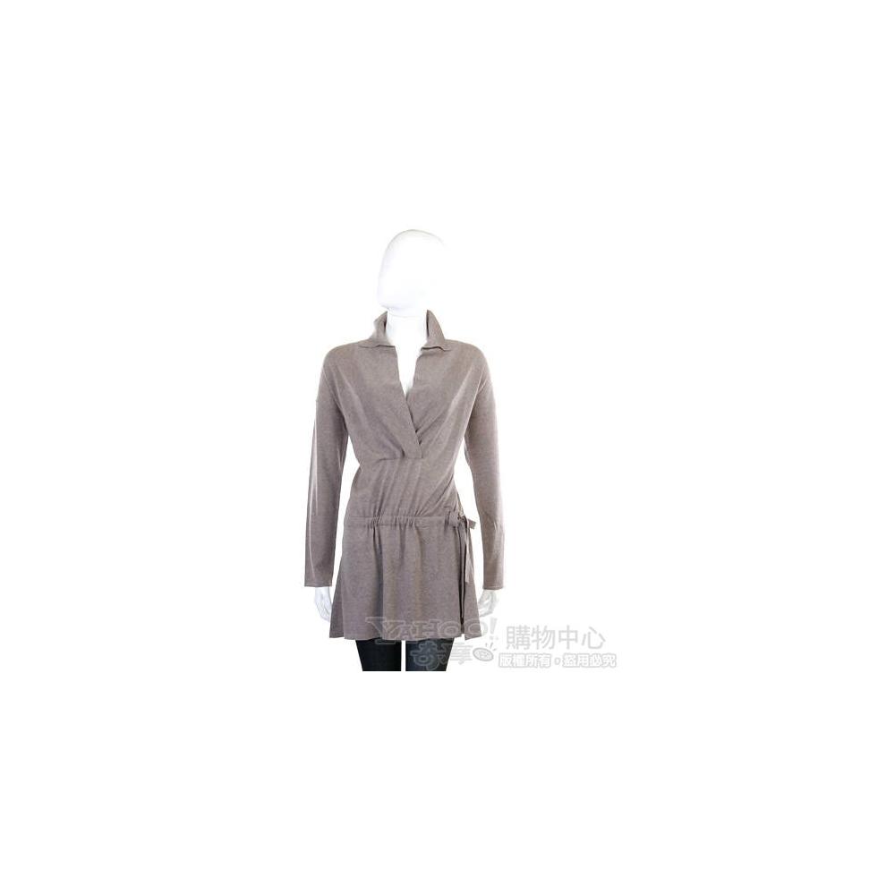 BRUNO MANETTI 灰駝色V領腰側抓摺造型洋裝