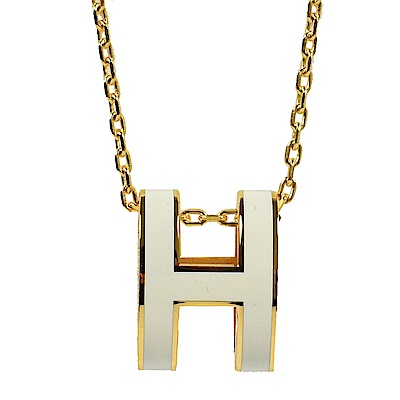 HERMES H POP款LOGO圓弧型項鍊(白/金)