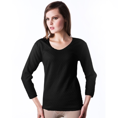 【LADY】柔情棉棉系列 三層暖棉_圓領保暖衛生衣(黑色)