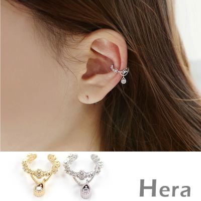 Hera赫拉 裸雕鋯石天使淚滴無耳洞耳環/耳扣/耳骨夾-2色( 單顆)金色