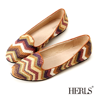 HERLS-條紋圖騰-柔軟樂福鞋-棕