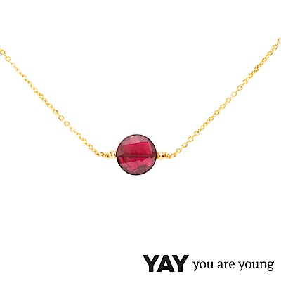 YAY You Are Young 法國品牌 Jimie 石榴石項鍊 金色