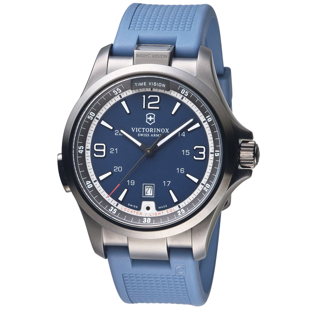 VICTORINOX瑞士維氏Night Vision系列日夜探行者腕錶-藍色/43mm