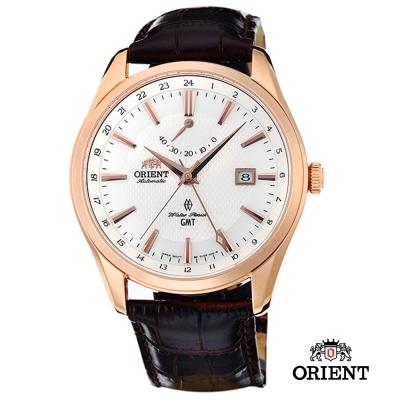 ORIENT 東方錶 GMT系列 雙時區藍寶石機械錶-玫瑰金/41mm