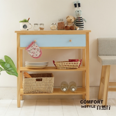 CiS自然行實木家具 電器櫃-碗盤櫃-雜貨櫃-置物櫃W80cm(原木鄉村藍色)