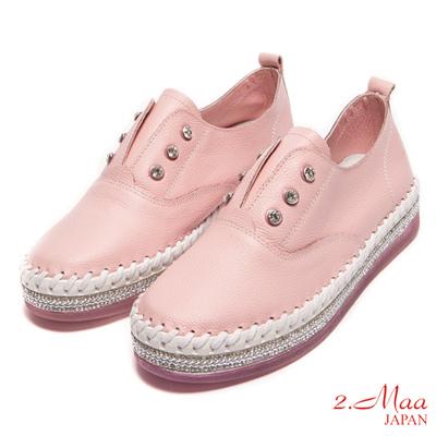 2.Maa-全真皮-個性開叉厚底水鑽樂福鞋-粉