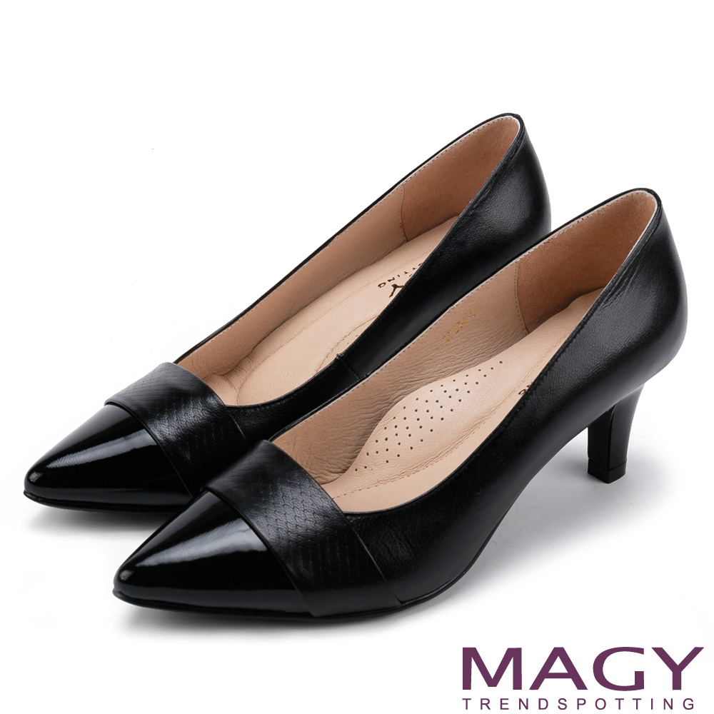 MAGY 氣質首選 素雅真皮雙材質尖頭高跟鞋-黑色