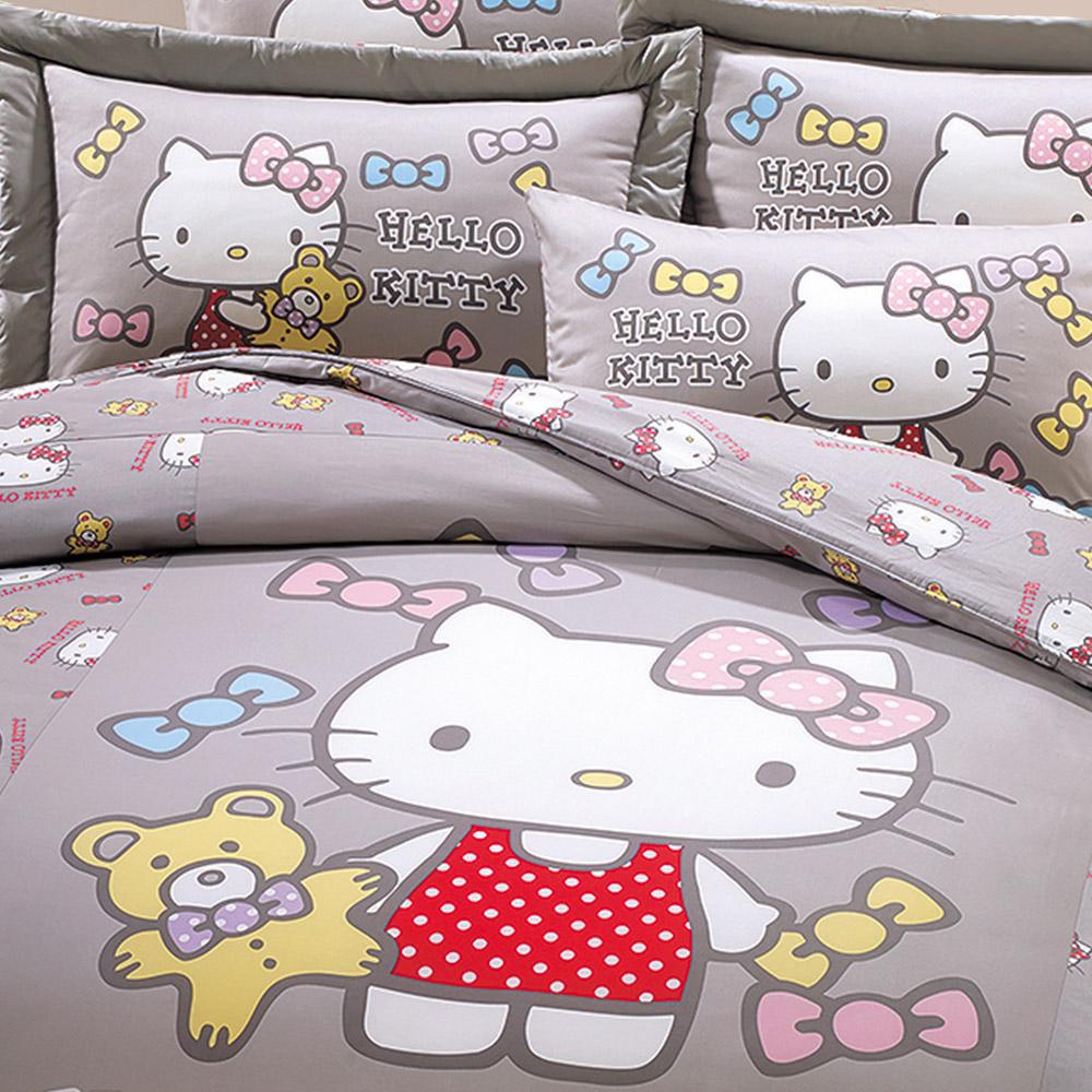 鴻宇 美國棉 抗菌 Hello Kitty 哈尼小熊 灰-單人兩用被套