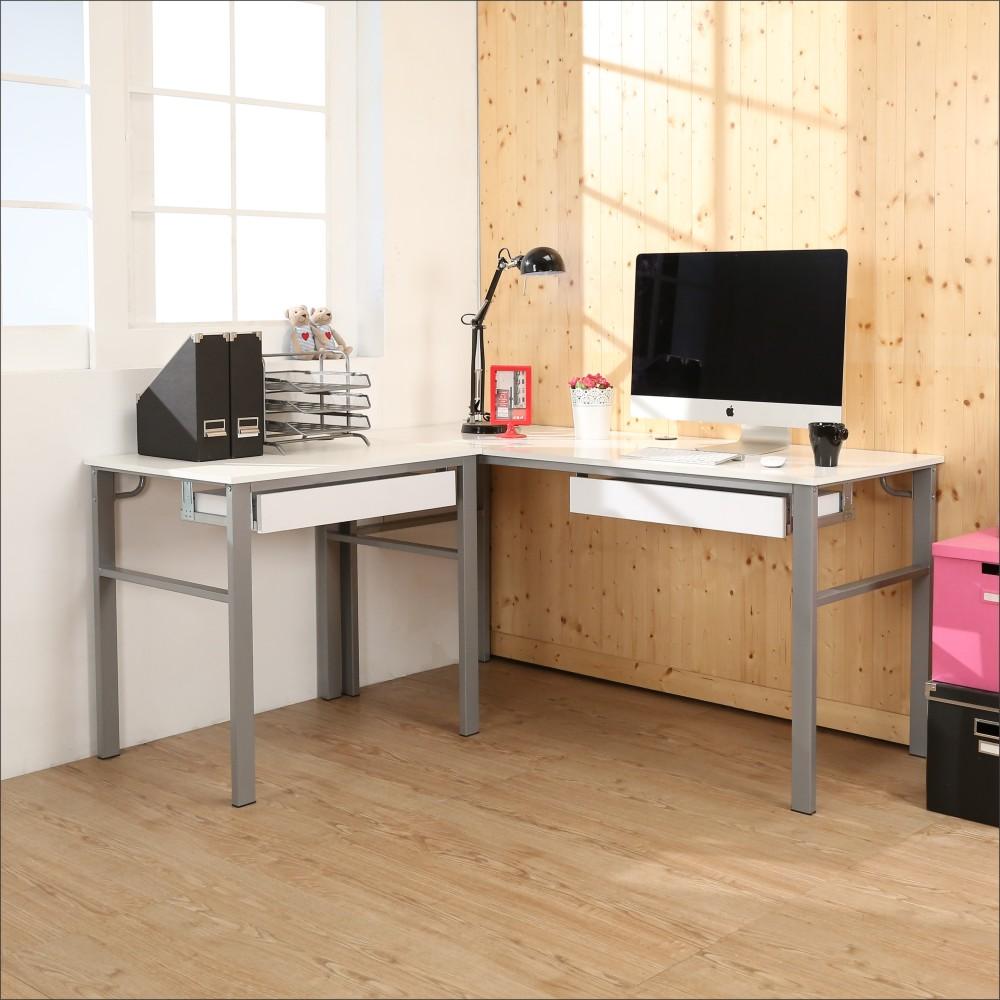 BuyJM 鏡面低甲醛160+80公分L型穩重雙抽屜工作桌-DIY