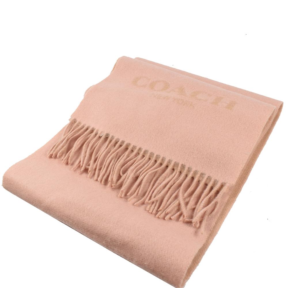 COACH 鬚鬚大LOGO造型長型羊毛圍巾(粉色)COACH