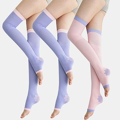 足下物語 台灣製 360丹美化曲線睡眠襪 3件組(紫/粉)