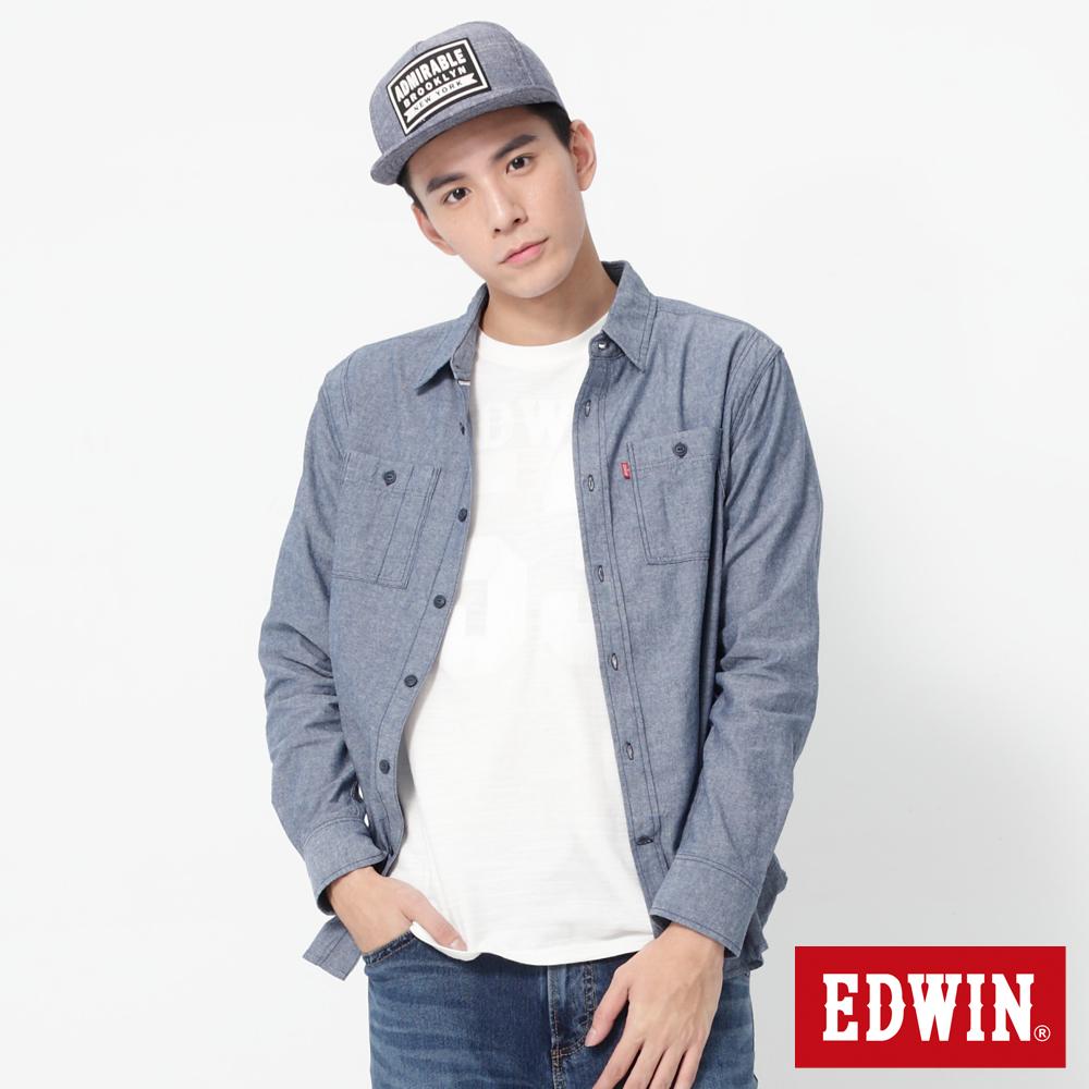EDWIN 對稱貼袋牛津長袖襯衫-男-丈青