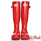 ROCKFISH 時尚百搭顯瘦長筒雨靴 繽粉系列 亮眼紅