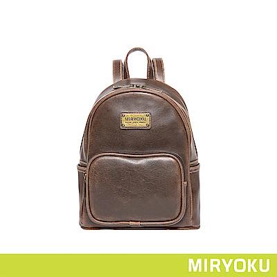 MIRYOKU 復古皮革系列 /  復古中型圓弧後背包(共3色)