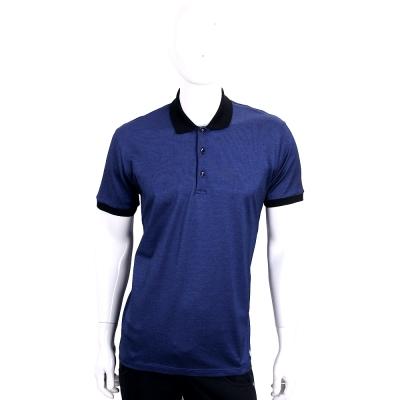 VERSACE 藍色拼接棉質短袖POLO衫