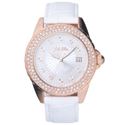 Folli Follie 低調華麗時尚晶鑽腕錶-白x玫瑰金/38mm