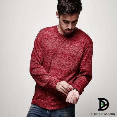 DITION 韓國平輸混色麻花針織衫 素色薄毛衣 落肩情侶款