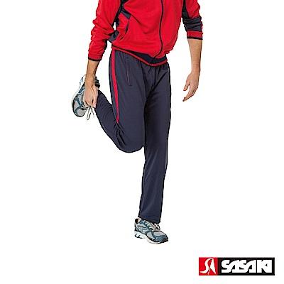 SASAKI 吸濕排汗功能針織運動長褲-男-紅/丈青