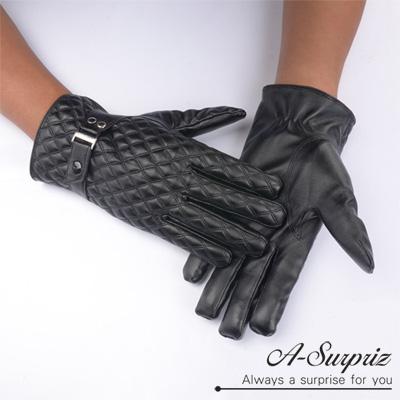A-Surpriz 帥氣菱格紋扣環男用觸控皮手套(黑)