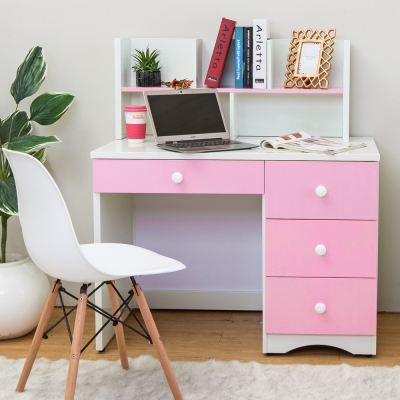 Birdie南亞塑鋼-貝妮3.4尺粉色塑鋼書架型書桌-103x60x115cm