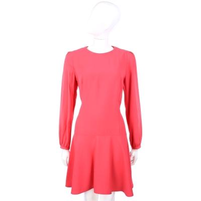 VALENTINO 圓領抓褶設計長袖洋裝(亮桃色)