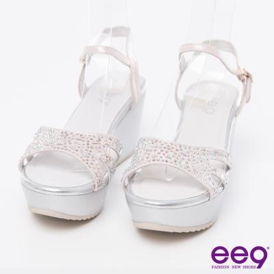 ee9閃耀星光~頂級綿羊皮鑲嵌水鑽璀璨亮麗楔型涼鞋*粉色