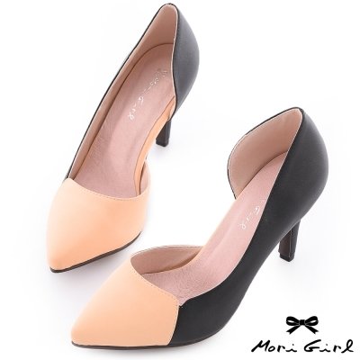 Mori girl巴黎品味-個性撞色拼接高跟鞋 黑x粉