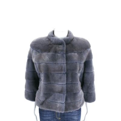 GRANDI furs 灰藍色立領皮草外套