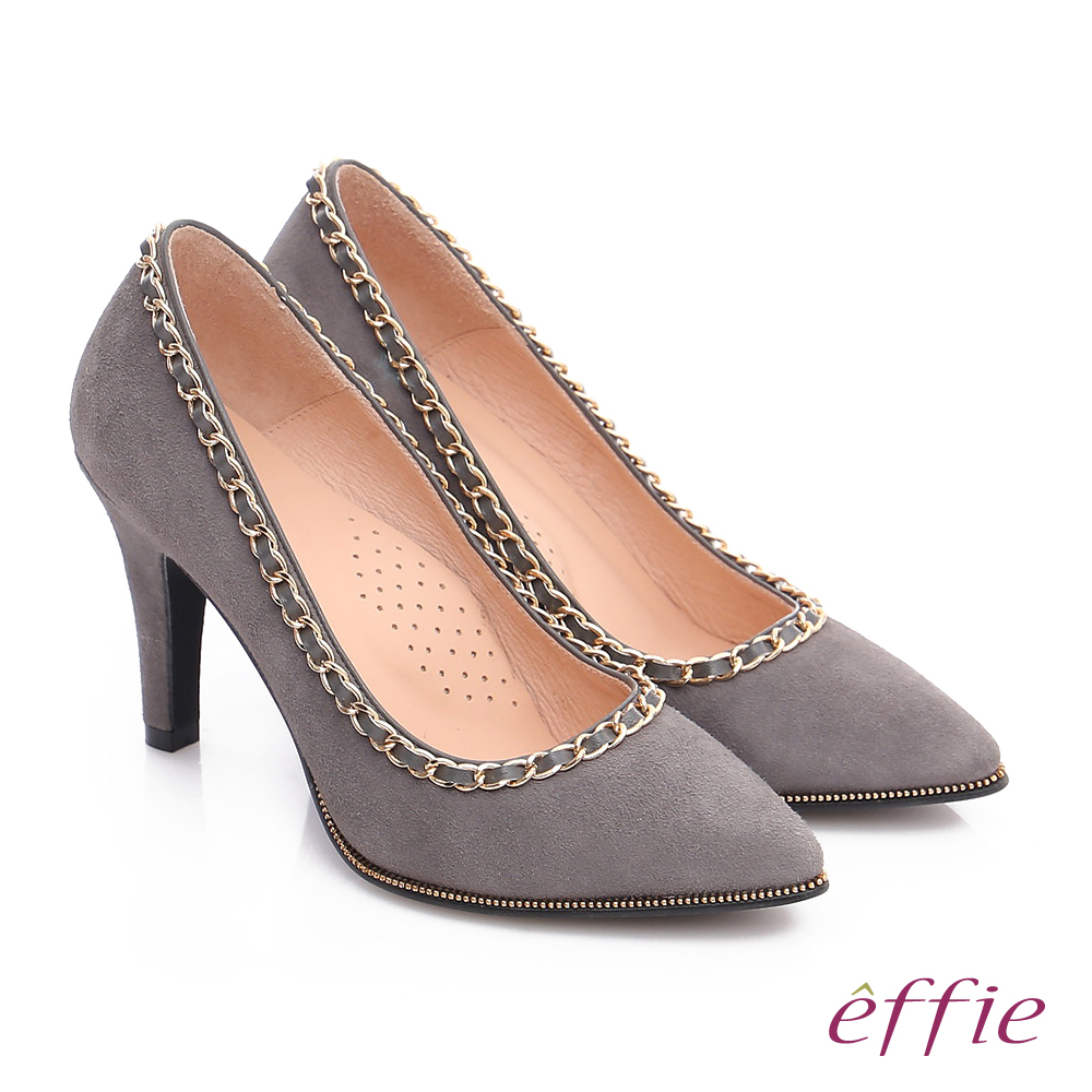 effie 耀眼女伶 絨面羊皮拼接鍊條窩心高跟鞋 淺灰