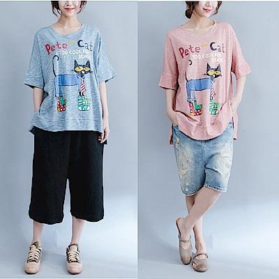 貓咪印花寬鬆圓領T恤-F(共兩色)-Keer