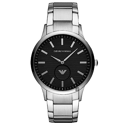 Emporio Armani 亞曼尼LOGO小秒盤手錶~黑x銀 43mm