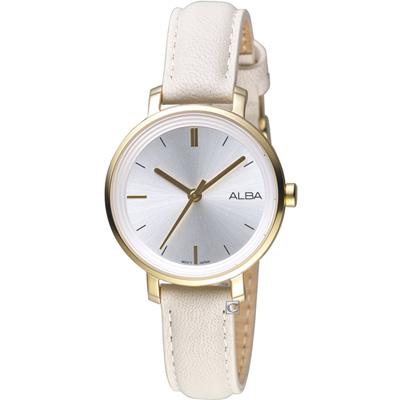 ALBA 雅柏氣質女孩時尚腕錶(AH8488X1)米白/30mm