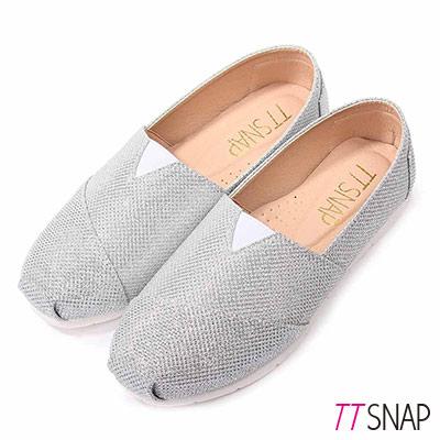 TTSNAP樂福鞋-MIT星星閃耀亮片真皮平底休閒鞋 銀