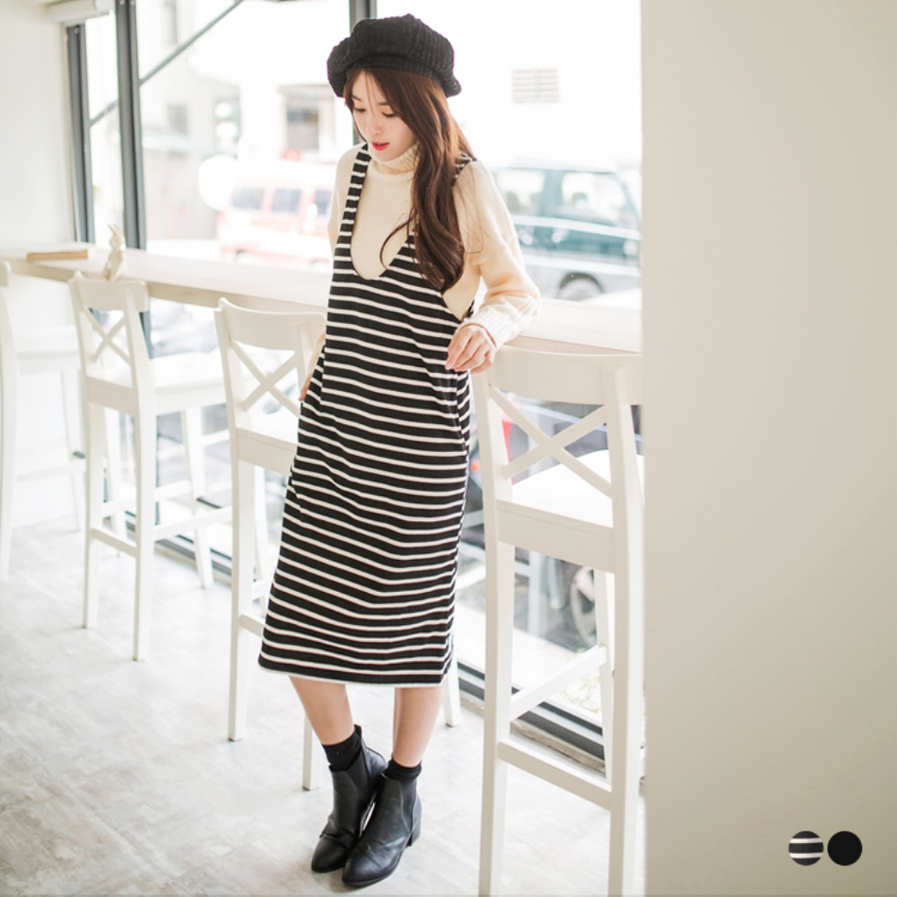 素色/條紋U領後背鏤空造型背心洋裝.2色-OB大尺碼